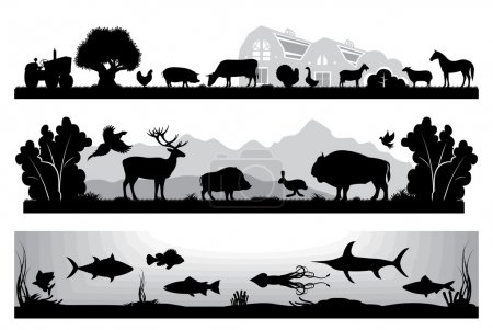 Illustration for Set of black and white vector landscapes wildlife, farm, marine life - Royalty Free Image