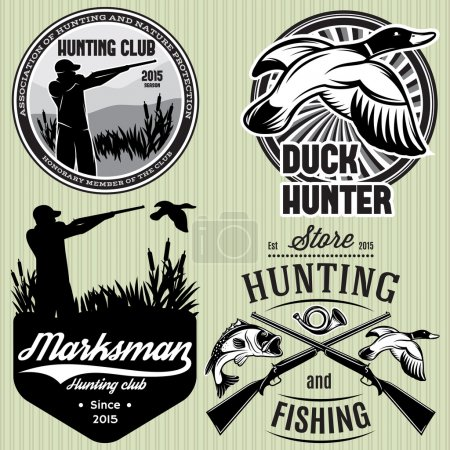 set of patterns with duck, dip, gun, hunter for hunting emblem