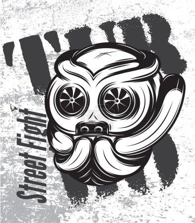 illustration of street fight titanium bulldog with turbo