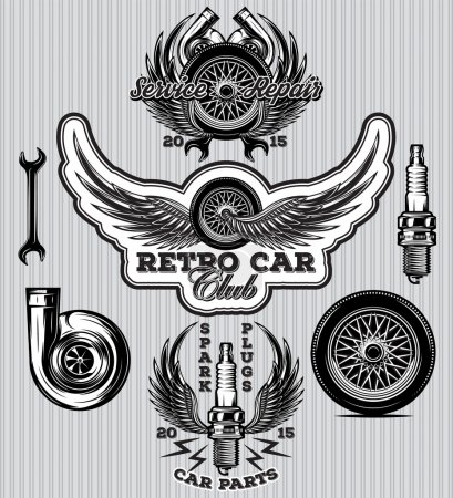 Illustration pour Ensemble de badge de sport pour station service avec bougies d'allumage de roue, ailes, turbo - image libre de droit