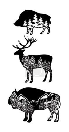 Illustration pour Image stylisée de sanglier, cerf, bison avec paysage de montagnes, forêt - image libre de droit