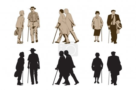 Elegant Seniors Using Walking Stick