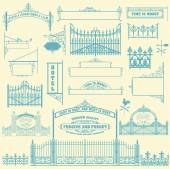 Set of wrought iron wicket fence and gates grilles