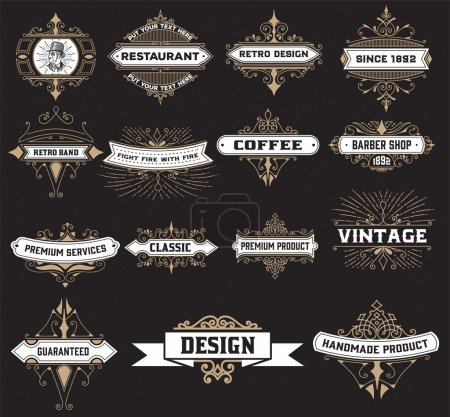 Vintage logo template, Hotel, Restaurant, Business Identity set.