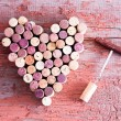 Close up Corks in Heart Shape and Wine Bottle Open...