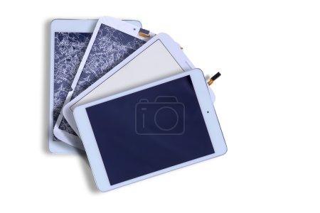 Kaputte und reparierte Tablet-Bildschirme