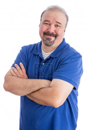 Smiling Bearded Adult Guy with Arms Crossed
