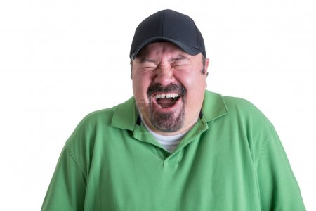 Portrait of Ecstatic Man Wearing Green Shirt