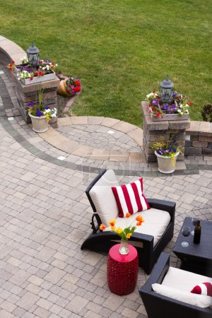 Comfortable Seating on Luxury Stone Patio
