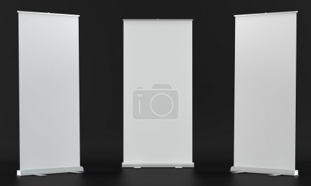 Photo for 3d render of a rollup mockups on dark fabric background - Royalty Free Image