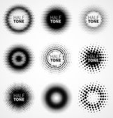 Set of abstract halftone logo design elements Vector illustration