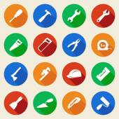 Set of construction tools icons in flat style Vector illustration