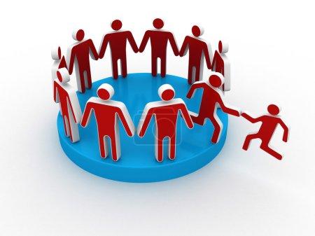 Photo pour Aider les membres de la main pour rejoindre grand groupe social ou de la société - image libre de droit
