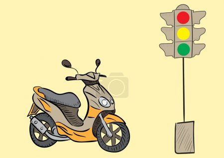 Scooter and traffic light