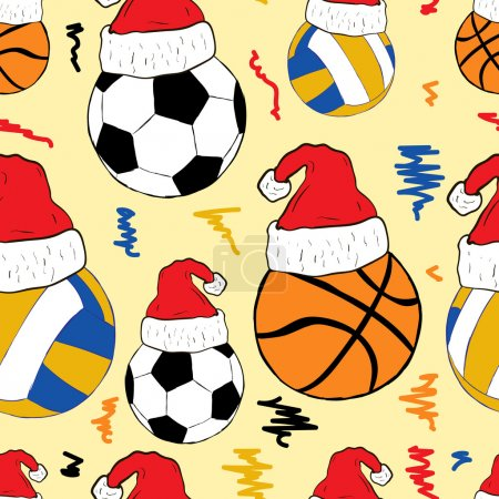 Balls in Christmas caps