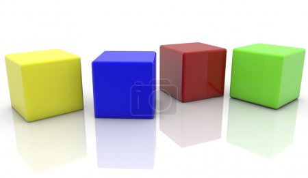 Four cubes in various colors