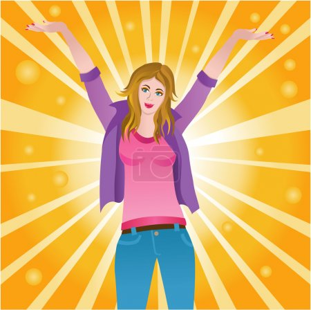 Illustration for Vector illustration of a happy successful joyful woman - Royalty Free Image