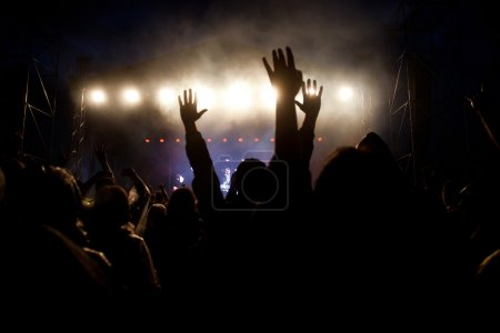 Photo for Crowd at concert and stage lights - Royalty Free Image
