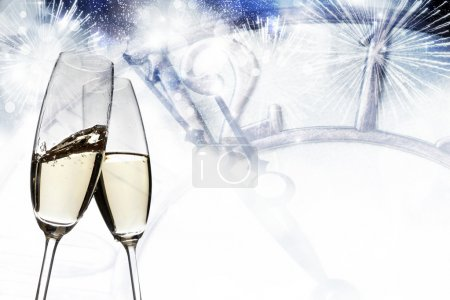 Photo for Toasting with champagne glasses on sparkling holiday background - Royalty Free Image