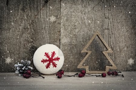 Photo for Christmas decorations on rustic wooden background - Royalty Free Image