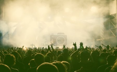 Photo for Crowd at concert - retro style photograph - Royalty Free Image