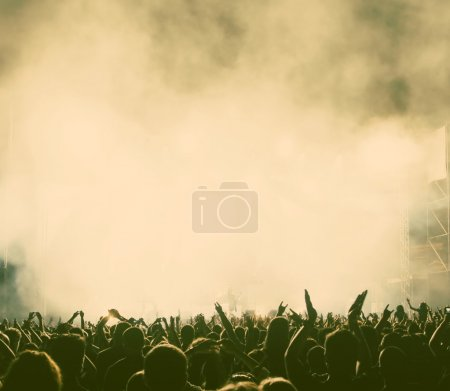 Crowd at concert - retro style photograph