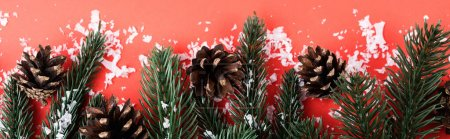 Photo for Pine cones with fir branches and artificial snow, new year concept, banner - Royalty Free Image