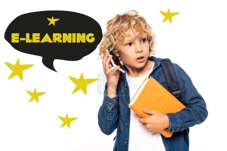 Photo for Curious schoolboy holding book and talking on smartphone near e-learning lettering in speech bubble illustration on white - Royalty Free Image