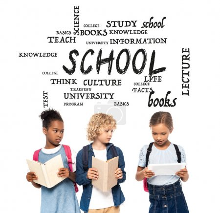 Photo for African american schoolgirl and blonde schoolboy with books looking at digital tablet in hands of classmate near lettering on white - Royalty Free Image