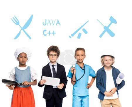 Photo pour Enfants multiculturels en costumes de différentes professions près de l'illustration sur blanc - image libre de droit