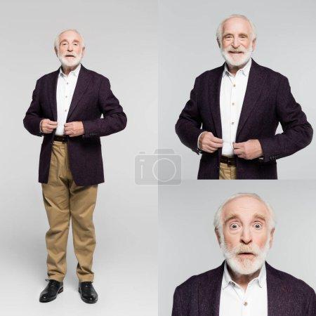 Collage eines lächelnden und aufgeregten älteren Mannes, der Jacke auf grauem Hintergrund berührt