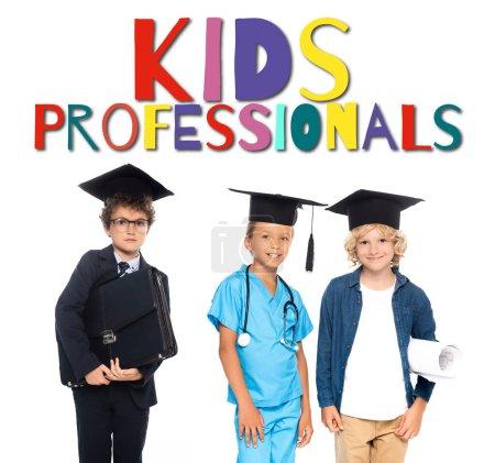 Photo pour Enfants en casquettes de graduation vêtus de costumes de différentes professions près des enfants professionnels lettrage sur blanc - image libre de droit
