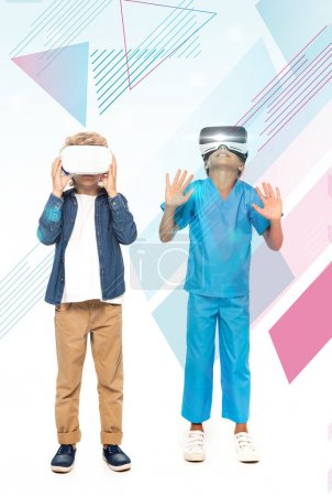 Photo for Boy touching virtual reality headset while kid gesturing near illustration on white - Royalty Free Image