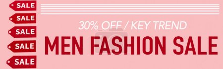 Photo for Red labels near 30 percent off, key trend, men fashion sale lettering on pink, banner - Royalty Free Image