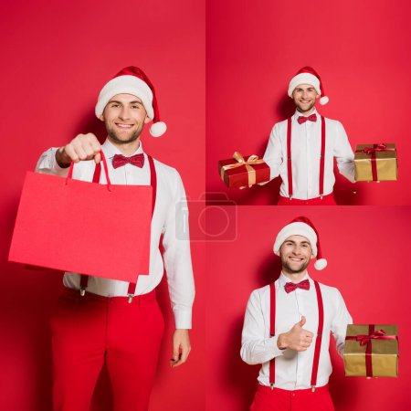 Photo for Collage of cheerful man in santa hat holding shopping bags, gifts and showing like gesture on red background - Royalty Free Image