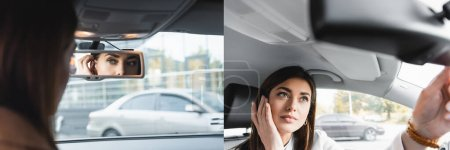 collage of young woman fixing hair and touching face while looking in rearview mirror on blurred foreground, banner