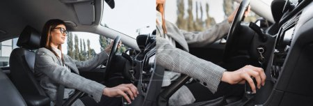 collage of businesswoman shifting transmission lever while driving car, banner