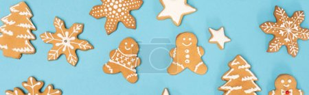 top view of winter gingerbread cookies on blue background, banner