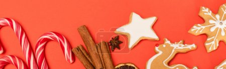 top view of candy canes, spices and gingerbread cookies on red background, banner