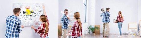 collage de hombre joven y la mujer que quita la imagen, sosteniendo la mesa de centro, rollo de alfombra y caja de cartón en casa, bandera