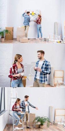 Photo pour Collage de jeune homme et femme enlever photo, parler et boire du café à la maison - image libre de droit
