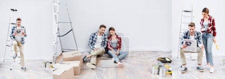 Photo pour Collage de sourire jeune homme et femme lisant le journal avec des lettres d'affaires et regardant ordinateur portable sur le sol à la maison, bannière - image libre de droit