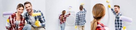 collage de feliz pareja joven con rodillos de pintura mirando a la cámara y la pared de pintura en casa, pancarta