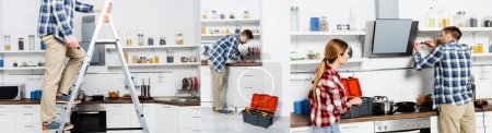 Photo for Collage of young man with screwdriver repairing extractor fan, standing on ladder and bending over sink in kitchen, banner - Royalty Free Image