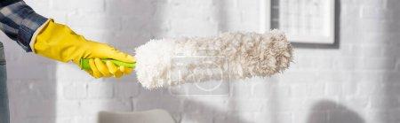 Vista recortada de la mujer en guante de goma con cepillo de polvo en casa, pancarta