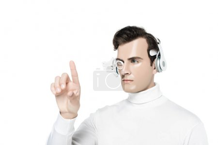Cyborg man in headphones and digital eye lens pointing with finger isolated on white