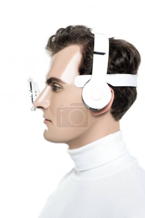 Cyborg in headphones and eye lens isolated on white