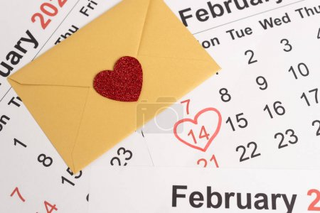 Photo for Envelope with heart on February calendar - Royalty Free Image
