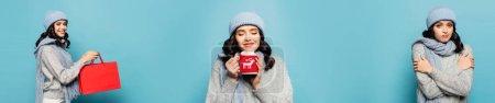 Photo pour Collage de femme en tenue d'hiver s'embrassant et tenant sac à provisions et tasse avec support tricoté isolé sur bleu, bannière - image libre de droit