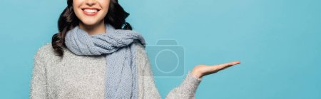 Cropped view of brunette woman in scarf pointing with hand isolated on blue, banner